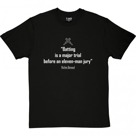 "Richie Benaud ""Batting Is A Major Trial"" Quote T-Shirt"
